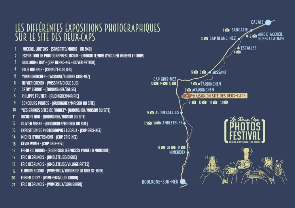 Festival Photo des Deux-Caps, carte des 21 expos photo